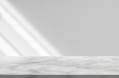 Fototapeta Marble table with window shadow drop on white wall background for mockup product display