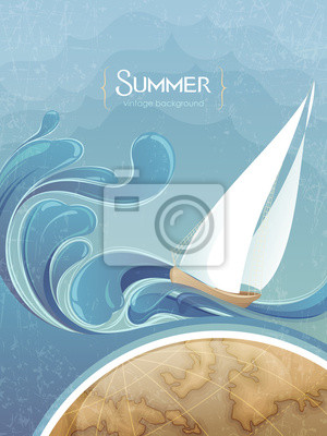 Marine Ilustracja: fale i jacht na Tour