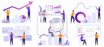 Fototapeta Market analytics. Finance prediction, trends forecast and business strategy analytics flat vector illustration set