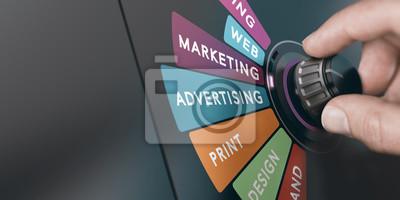Fototapeta Marketing and Communication Strategy, Monitoring Advertising Campaign.