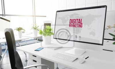 Fototapeta marketing cyfrowy w biurze komputerowym