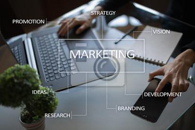 Fototapeta Marketing koncepcji na wirtualnym ekranie.