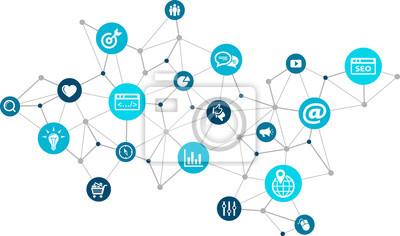 Fototapeta marketing online / marketing w mediach społecznościowych / SEO - ilustracji wektorowych