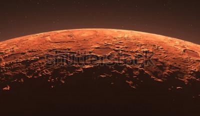 Fototapeta Mars - czerwona planeta. Marsjańska powierzchnia i pył w atmosferze. Ilustracja 3D