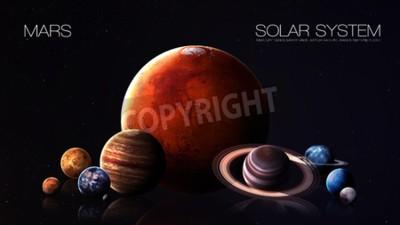 Fototapeta Mars - rozdzielczości 5K Infografika przedstawia jeden z planety systemu słonecznego.