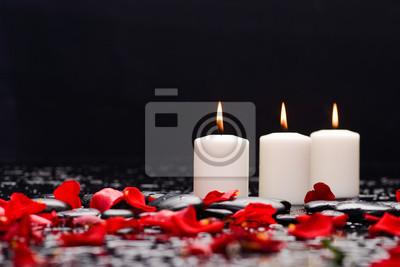 Martwa natura z czerwoną różą, płatkami ze świecą i kamieniami do terapii