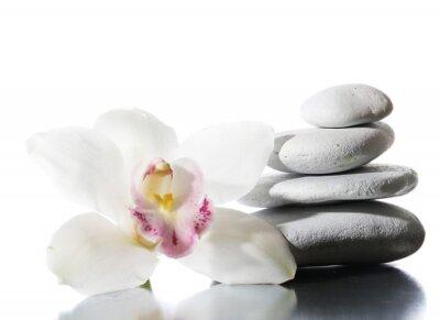 Fototapeta Martwa natura z kamieni spa na błyszczącej powierzchni samodzielnie na białym tle