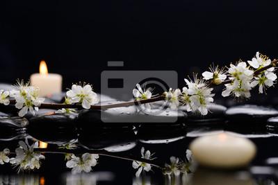 Martwa natura z wiśni z białą świecę na czarnych kamieni