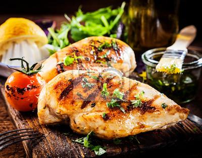 Fototapeta Marynowane piersi z kurczaka z grilla zdrowych
