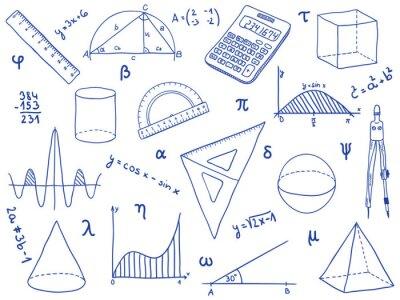 Matematyka Materiały Szkolne Geometryczne Kształty I Wyrażenia Fototapety Redro