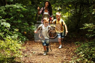 Fototapeta Matka i jej mali synowie wycieczkuje synklina las. Uczą się o naturze.