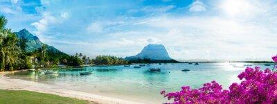 Fototapeta Mauritius landscape with la Gaulette fisherman village and Le Morne Brabant mountain, Africa