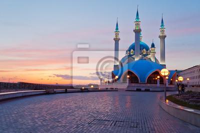 Meczet Kul Szarif w Kazaniu Kremla o zachodzie słońca. Rosja.