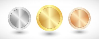 Fototapeta Medals logo collection. Isolated abstract graphic design template. Elegant round awards in gold, silver and bronze metallic colors. Luxury frames, decoration emblems. Set of shiny classic cup elements