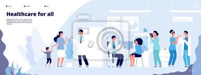 Fototapeta Medical landing page. Online clinical consult with diverse doctors. Healthcare vector concept. Medical doctor, clinic consultation webpage, medicine hospital illustration