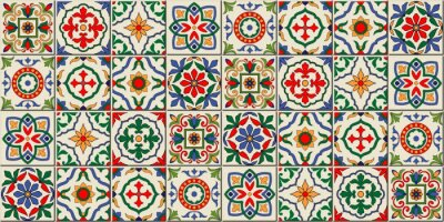 Fototapeta Mediterranean seamless pattern from Moroccan tiles, Azulejos ornaments. Can be used for wallpaper, pattern fills, web page background,surface textures. Vector