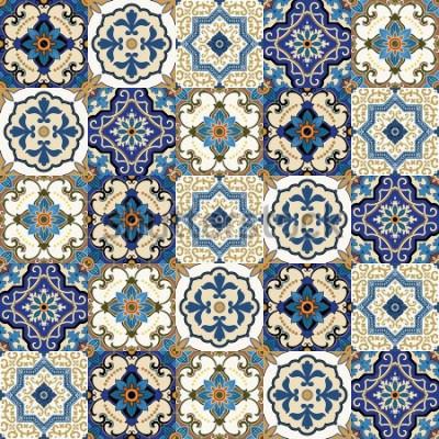Fototapeta Mega przepiękny wzór bez szwu patchwork z kolorowymi marokańskimi, portugalskimi kafelkami, azulejo, ozdoby .. może wybrać zdjęcia, wzór wypełnienia strony internetowej, tekstury powierzchni.