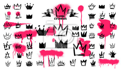 Fototapeta Mega Set of Crown logo graffiti icon. Black elements Freehand drawing. Vector illustration. Isolated on white background.