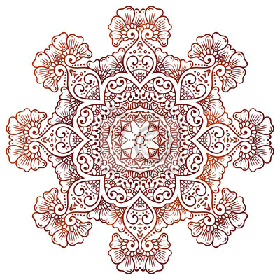Fototapeta Mehndi Circular Kwiatowy Ornament Tatuaż Henna Mandala