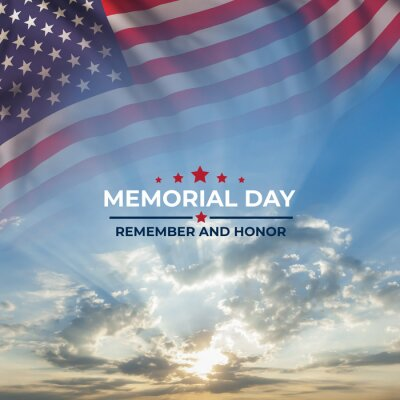 Fototapeta Memorial day card with flag and text