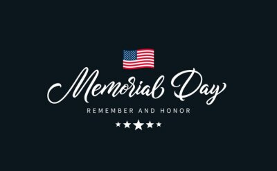 Fototapeta Memorial Day text with lettering