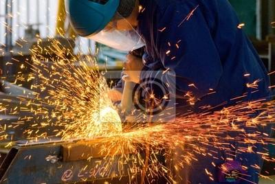Fototapeta Men at Work szlifowania stali