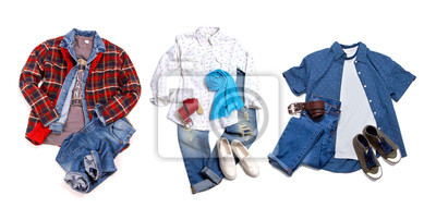 Fototapeta Men's and women's casual clothes and accessories. Shirt, t-shirt, jeans, shoes isolated on white background
