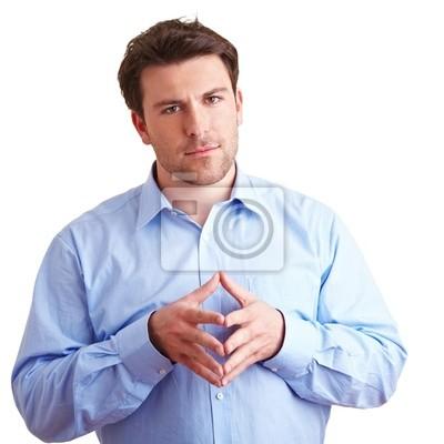 Menedżer hält Finger zusammen