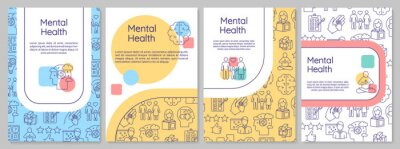 Fototapeta Mental health brochure template. Psychological wellness. Psychiatry flyer, booklet, leaflet print, cover design with linear icons. Vector layouts for magazines, annual reports, advertising posters