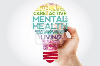 Fototapeta Mental health bulb word cloud collage with marker, health concept background