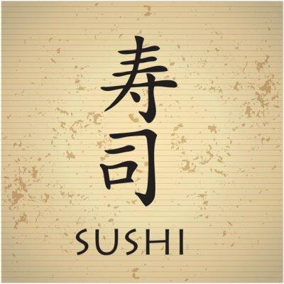 Fototapeta Menu bar sushi z japońskimi znakami