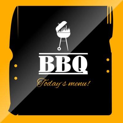 Fototapeta Menu BBQ ikona szablon dla restauracji lub pubie.