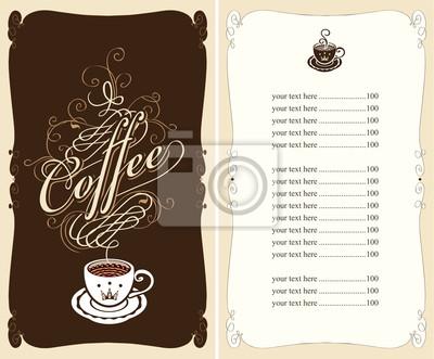 menu dla kawiarni na czarnym tle