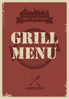 Fototapeta Menu grill, styl vintage, vector