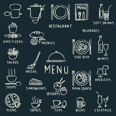 Fototapeta Menu restauracji kreda rysowane elementy projektu na tablicy