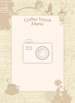 Menu wektorowe dla domu kawowego z filiżanką, wazonem i latarnią. Puste na tle z tekstur? R? Kopis i plamy z fili? Anek