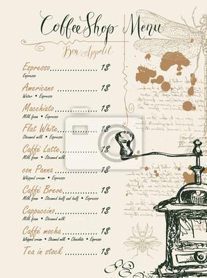 Menu wektorowe dla kawiarni z cennikiem z ołówkiem rysunek młynek do kawy, ważki, błędów i odręcznych napisów na abstrakcyjnym tle starego rękopisu z miejsca w stylu retro