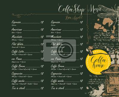 Menu wektorowe dla kawiarni z cennikiem z ołówkiem rysunek młynek do kawy, ważki i odręcznych napisów na abstrakcyjnym tle starego rękopisu z miejsca w stylu retro