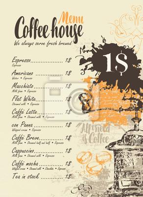 Menu wektorowe z cennikiem, ekspres do kawy i napisami dom kawowy na tle rękopisu z plamy i plamy w stylu retro