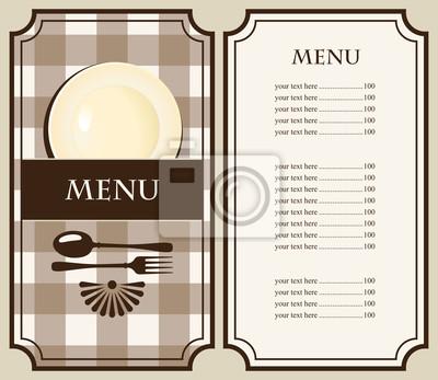 menu z płytą i sztućce