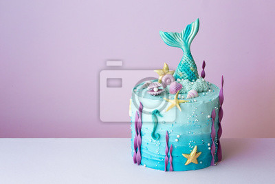 Fototapeta Mermaid birthday cake