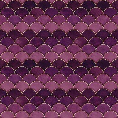 Fototapeta Mermaid fish scale wave japanese seamless pattern