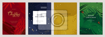 Fototapeta Merry Christmas and Bright Corporate Holiday cards. Vector illustration.
