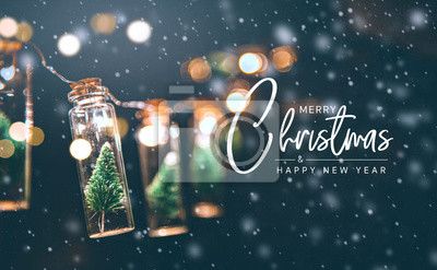 Fototapeta Merry Christmas and happy new year concept, Close up, Elegant Christmas tree in glass jar decoration.