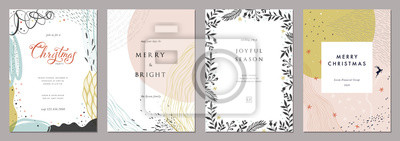 Fototapeta Merry Christmas and Modern Business Holiday cards. Abstract creative universal artistic templates.