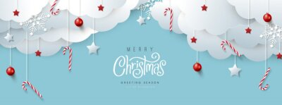 Fototapeta Merry Christmas banner or party invitation background .Merry Christmas vector text Calligraphic Lettering Vector illustration.