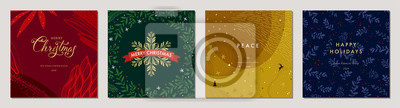 Fototapeta Merry Christmas greeting cards. Trendy abstract square Winter Holidays art templates. Suitable for social media post, mobile apps, banner design and web/internet ads.