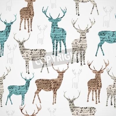 Fototapeta Merry Christmas reniferów rocznika grunge tekstury bez szwu wzór tła wektor plik na łatwy montaż warstwowy