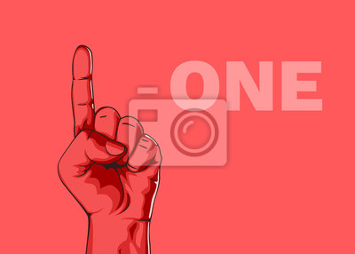 Fototapeta Męska dłoń pokazuje numer jeden. Nowoczesny design. Ilustracji wektorowych