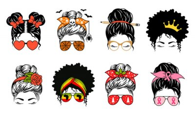 Fototapeta Messy bun set designs. Mom life collection. Vector female faces in aviator sunglasses and bandanas with various themed. Woman print.
